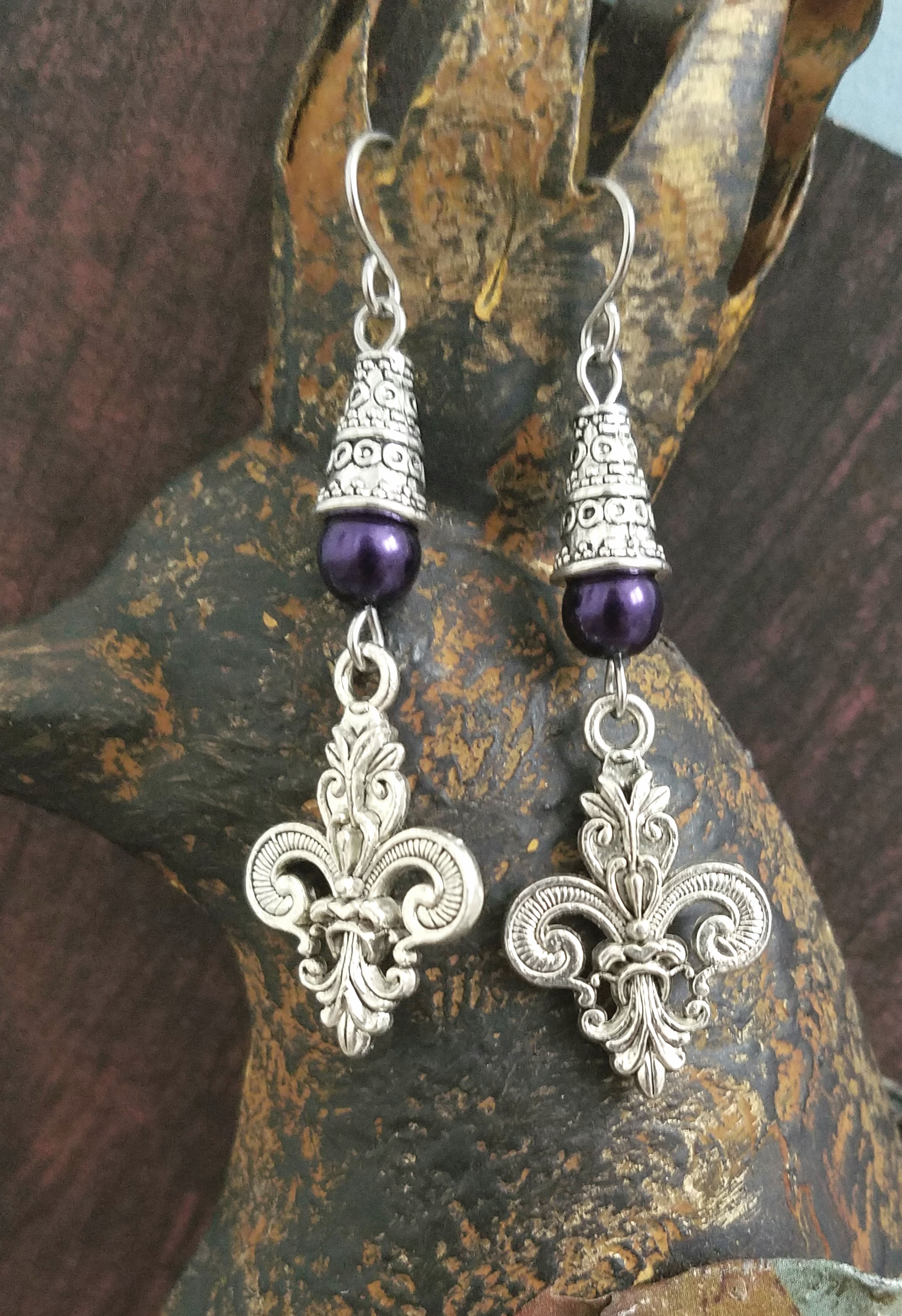 Silver Purple Fleur De Lis Earrings